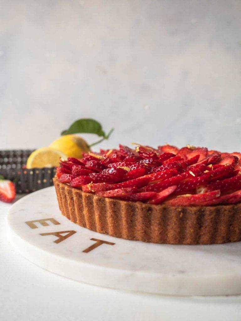 Rhubarb and Strawberry Cream Cheese Tart