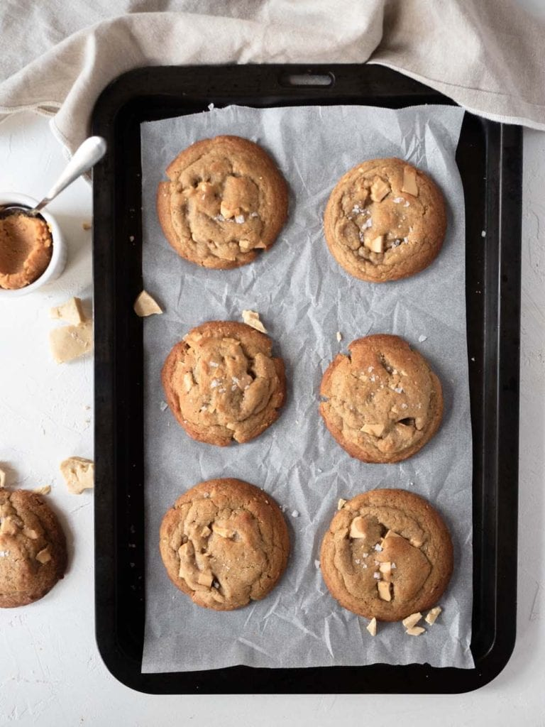 Miso brown butter cookies with caramelised white chocolate