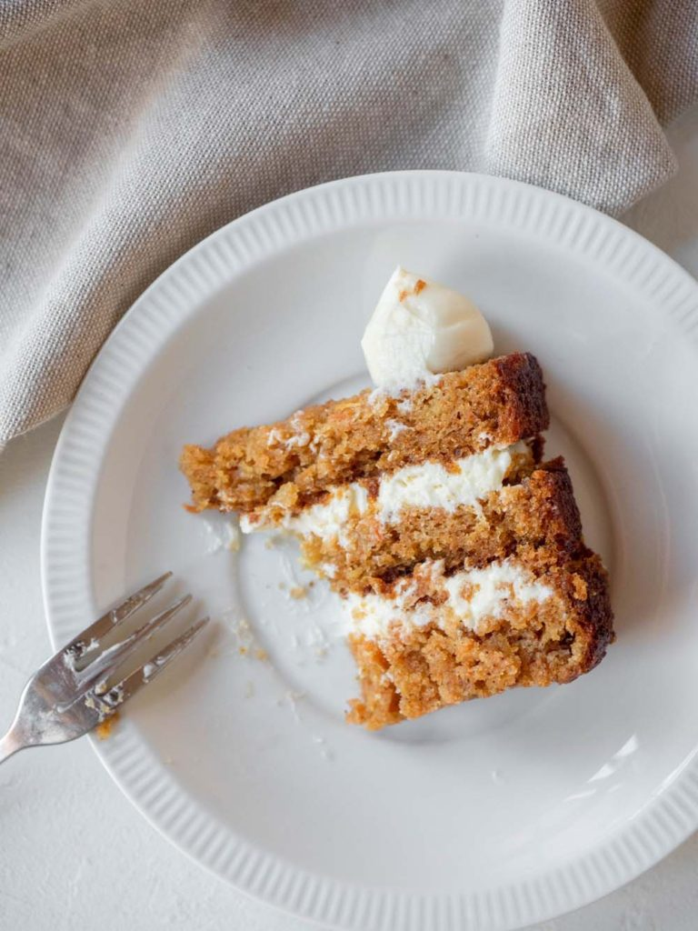 carrot cake with light cream cheese frosting