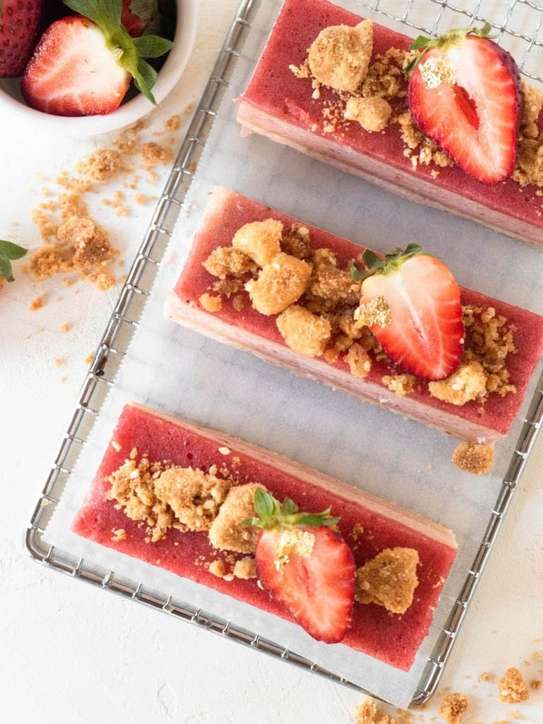 Layered Strawberry Mousse Cake with White Sesame Crumble