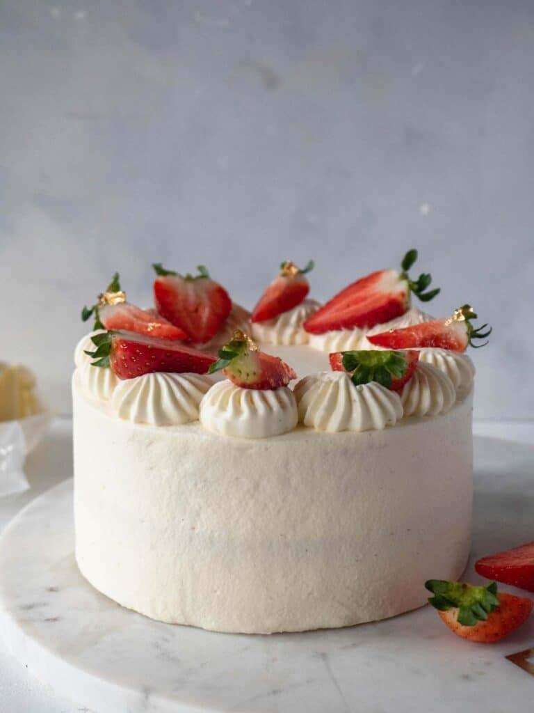 Asian style strawberry chiffon sponge cake with fresh cream