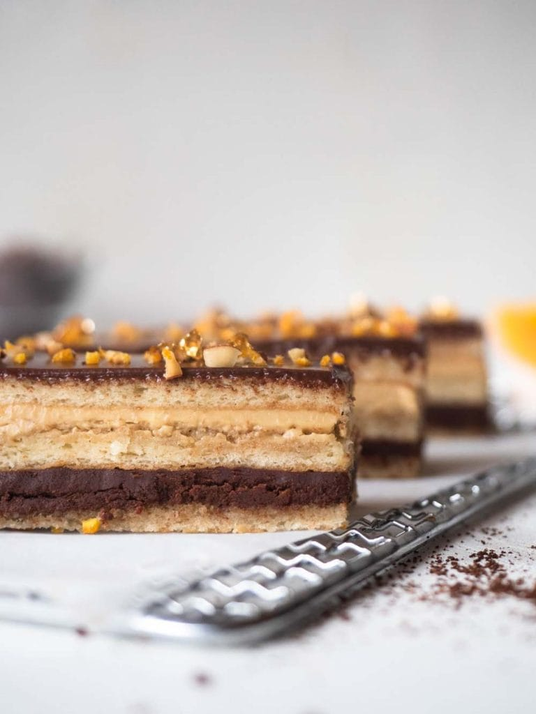 Chocolate, orange and coffee layered cake