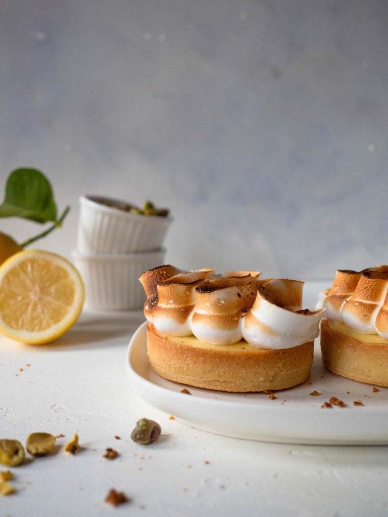 Lemon Meringue Tart with Pistachio Praline