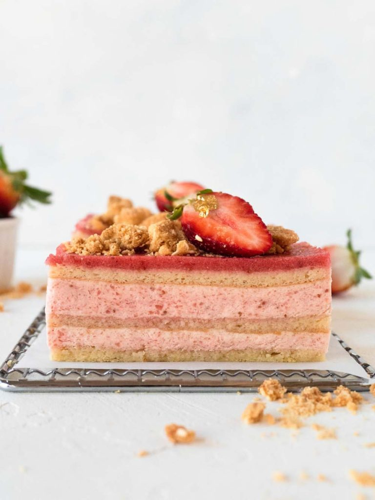 Strawberry Mousse Layer Cake with Sesame Crumble