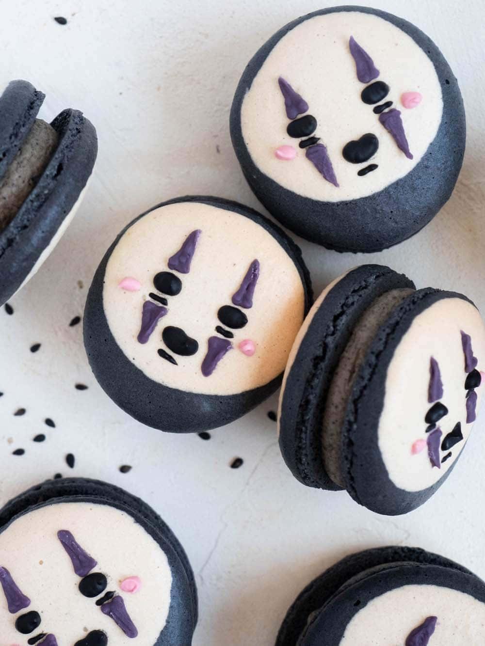 Black Sesame Kaonashi Macarons