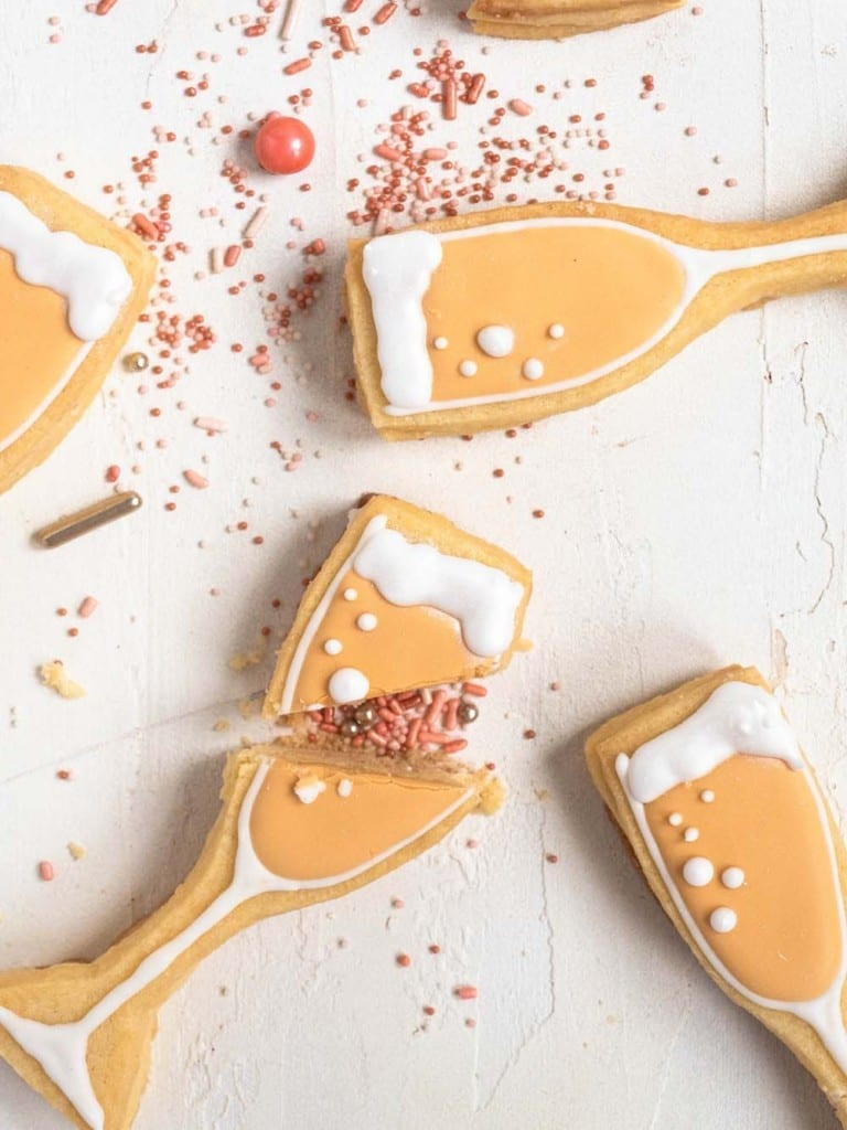 Champagne shaped cookies filled with sprinkles