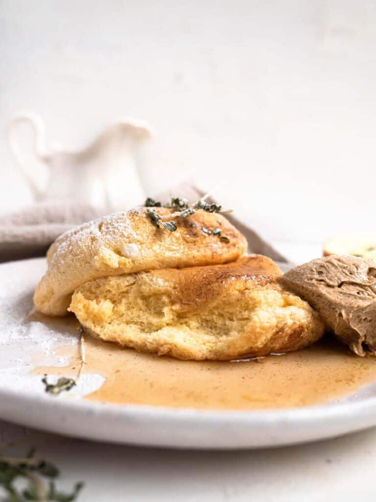 Fluffiest Japanese style souffle pancakes with gingerbread whipped butter and maple syrup
