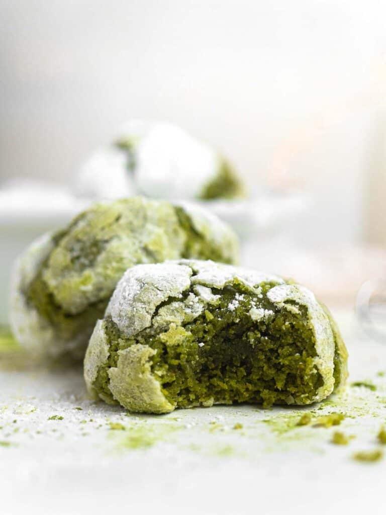 Soft and Fudgy Matcha Green Tea Crinkle Cookies