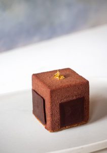 Chocolate, caramel and banana petit gateaux