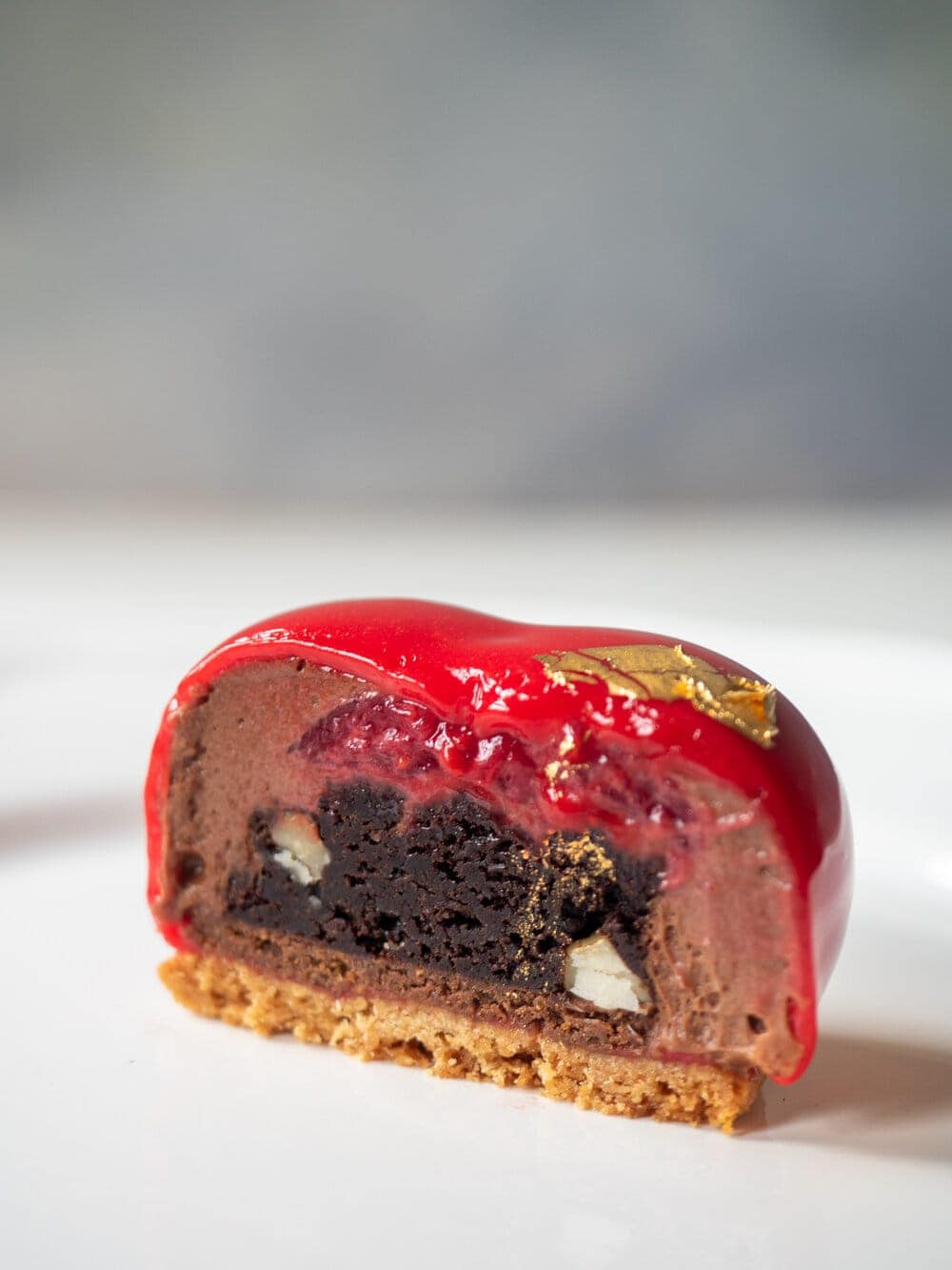 Chocolate, hazelnut and raspberry petit gateaux