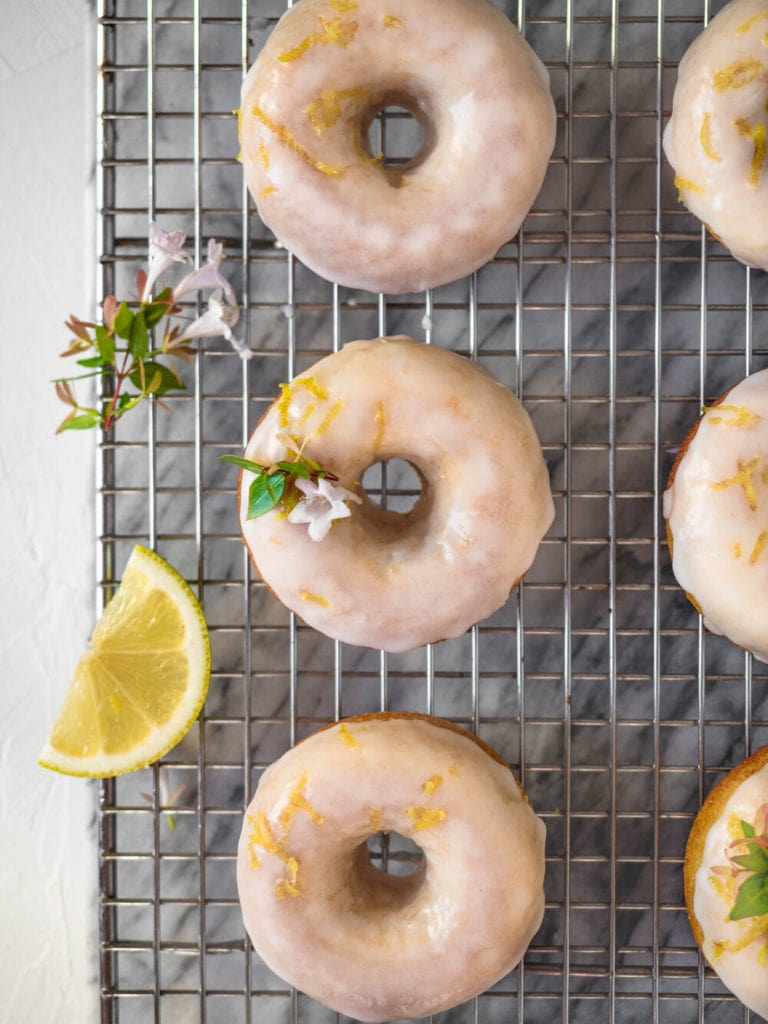 Zesty baked lemon cake donuts