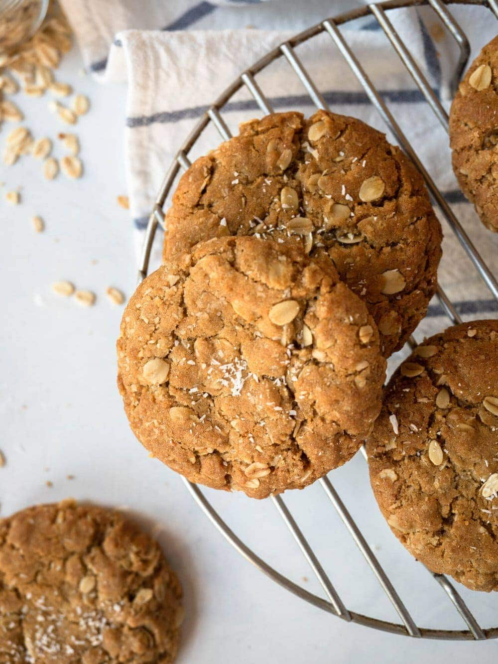 Caramelised oat and coconut cookies