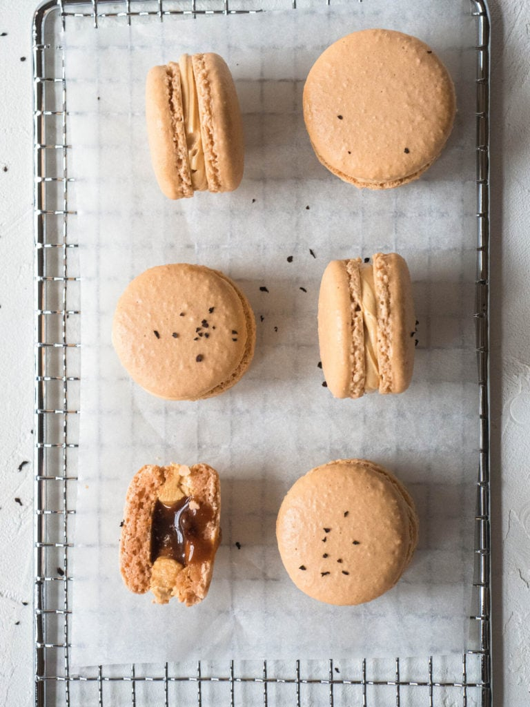 Perfect macarons with salted caramel and milk tea filling