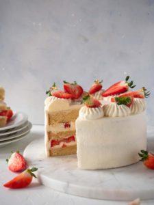 Japanese style strawberry sponge cake