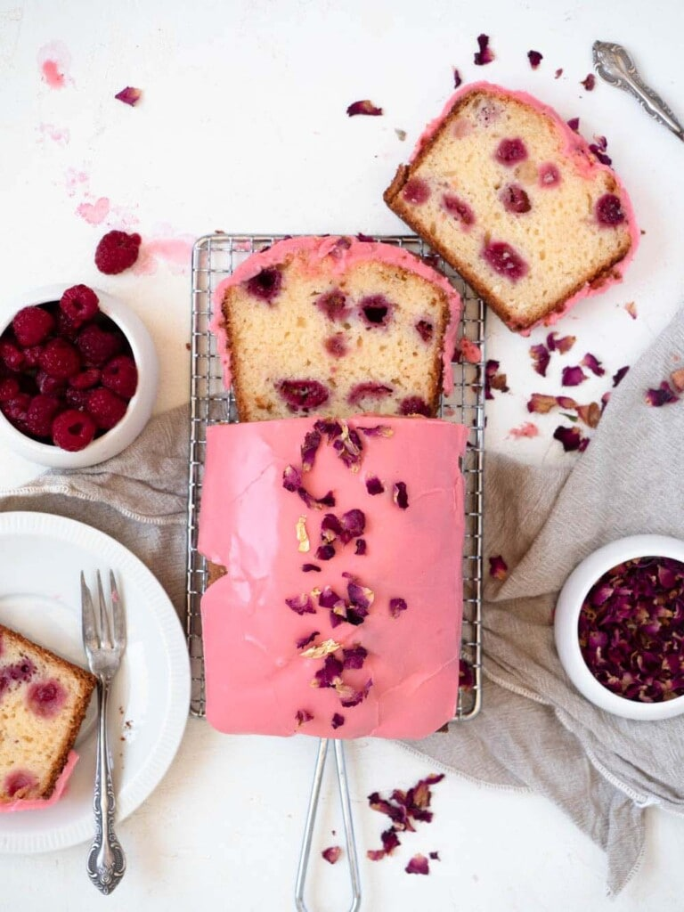 Raspberry Greek Yogurt Loaf Cake with Rose Icing