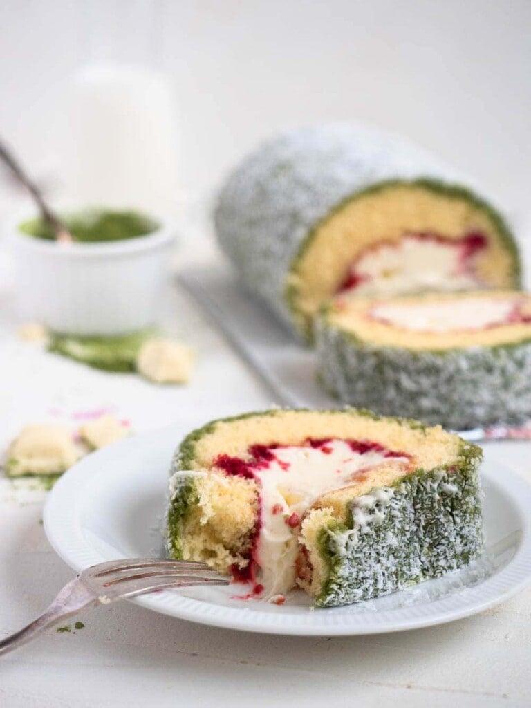 Matcha Raspberry Lamington Swiss Roll