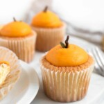 Mandarin shaped cotton-soft chiffon cupcakes with citrus whipped cream