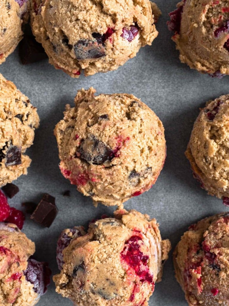 Soft Peanut Butter Raspberry Cookies with chocolate chunks