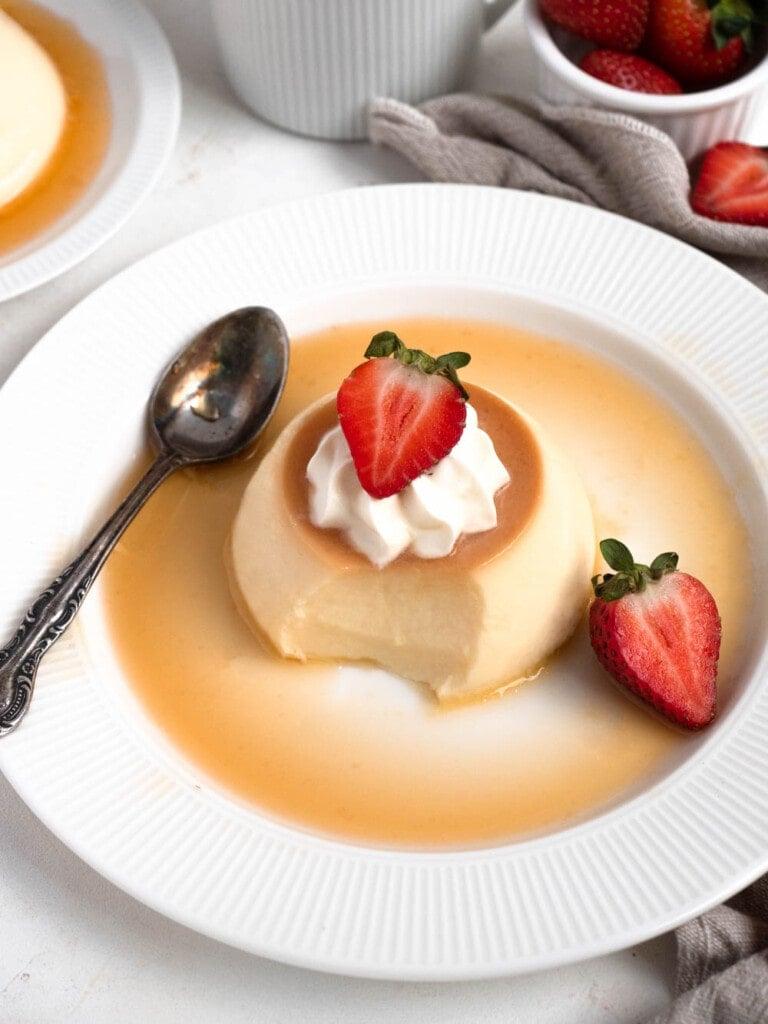 Creme caramel flan with strawberry
