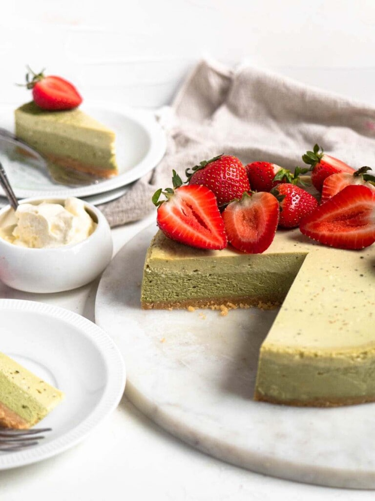 Two-toned baked green tea cheesecake