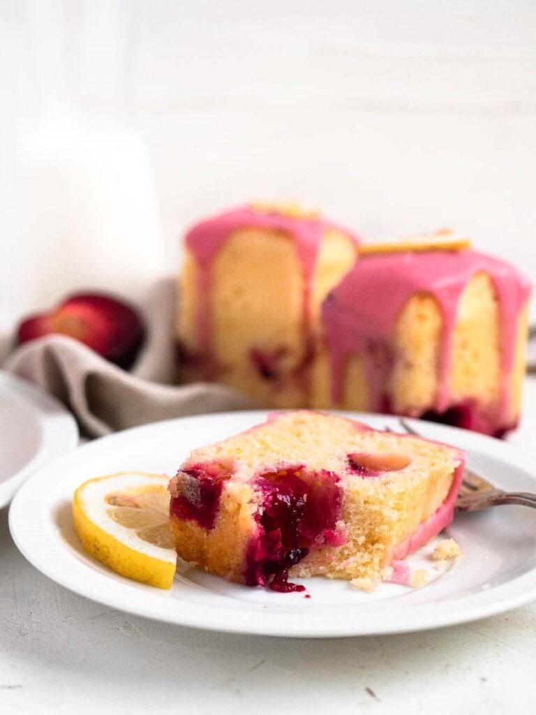 Plum and Lemon Mini Pound Cakes with plum glaze