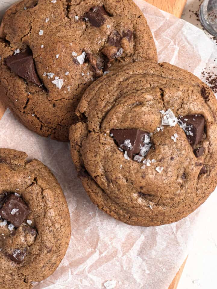 Chewy espresso chocolate chip cookies with coffee and flakey salt