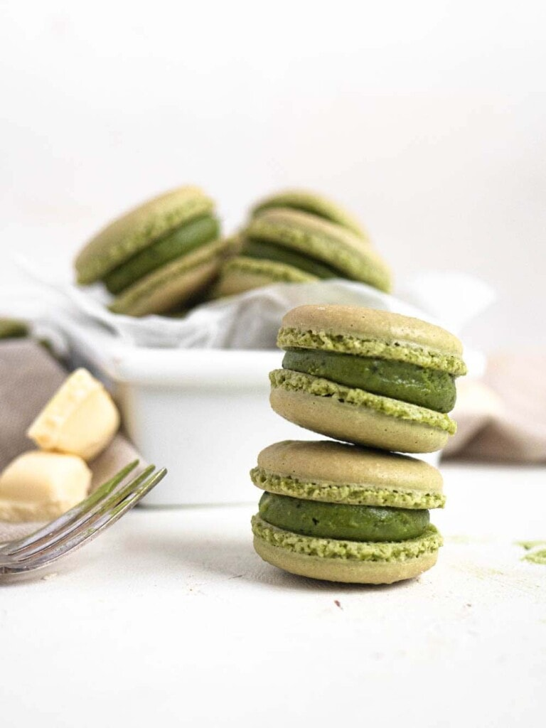Matcha French macarons with a white chocolate green tea ganache