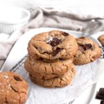 Soft and chewy salted brown butter cookies with flakey salt