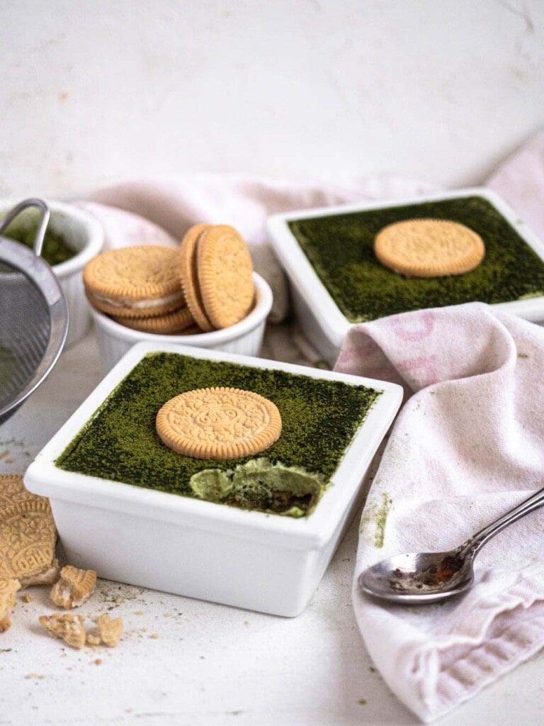 No-bake Matcha Golden Oreo Tiramisu with mascarpone cream and espresso