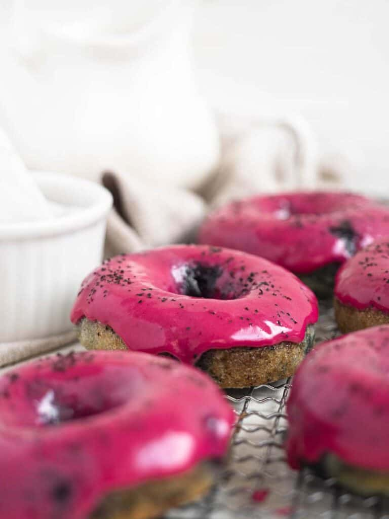 Soft cake donuts topped with a tangy lemon and blueberry glaze