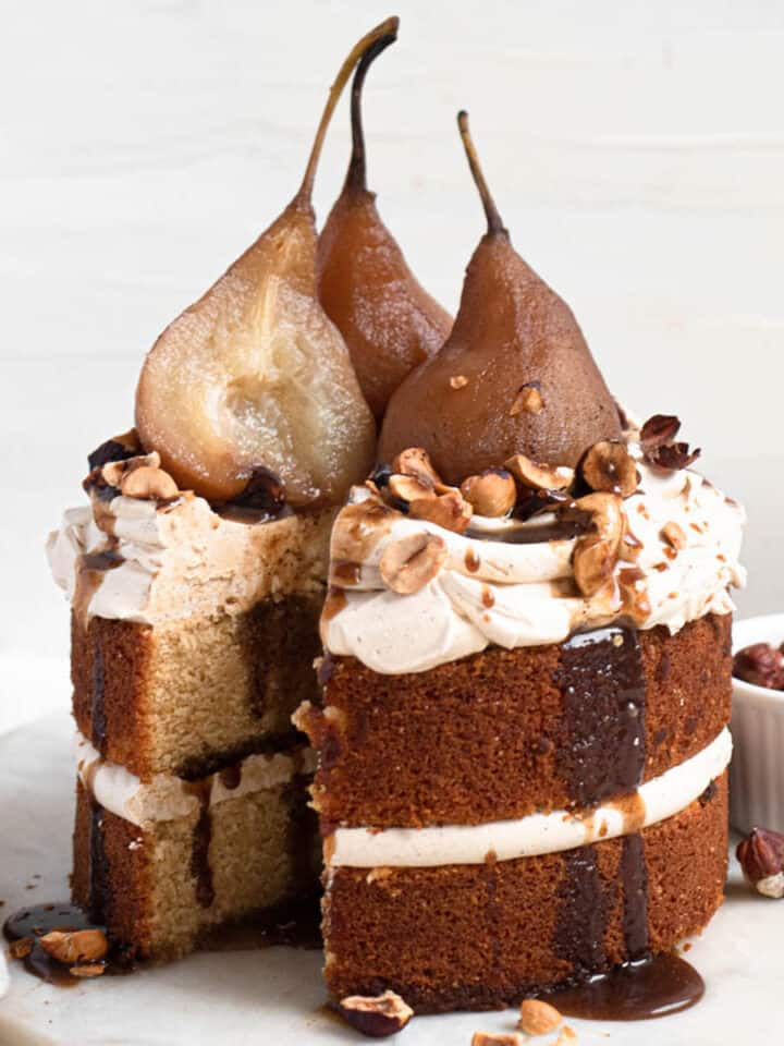 Poached pear and spiced caramel brown sugar butter cake