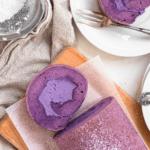 Soft and fluffy Filipino Ube Roll Cake