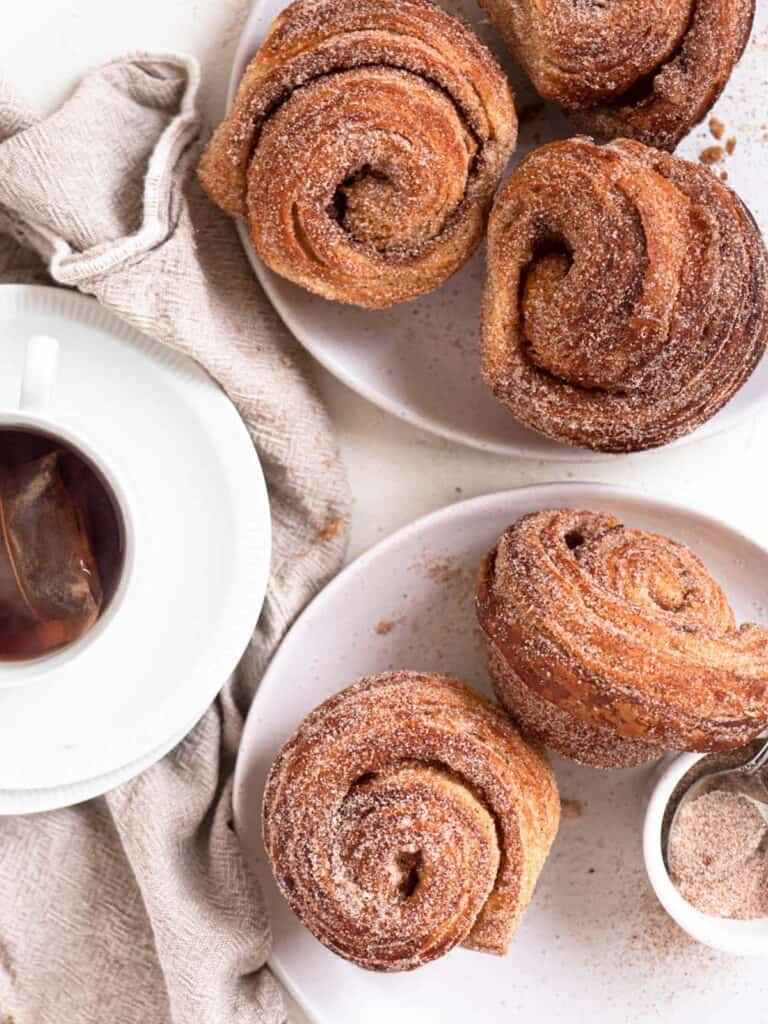 Flaky Crisp Buttery Layered Cinnamon Sugar Croissant Muffin hybrid Cruffins
