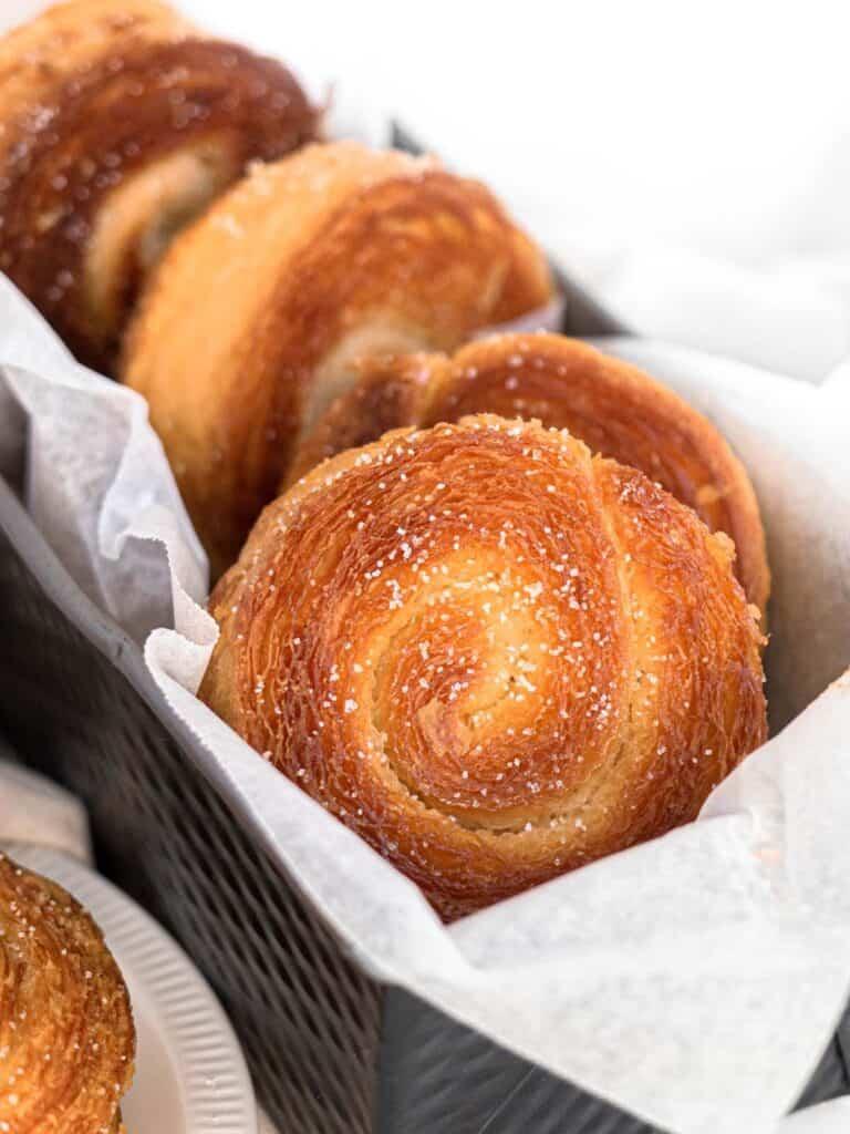 Kouignamann caramelised laminated dough rolled in sugar