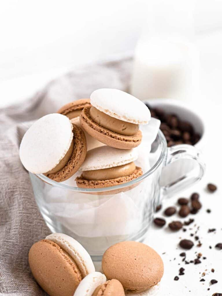 Vietnamese coffee macarons with coffee flavoured condensed milk buttercream