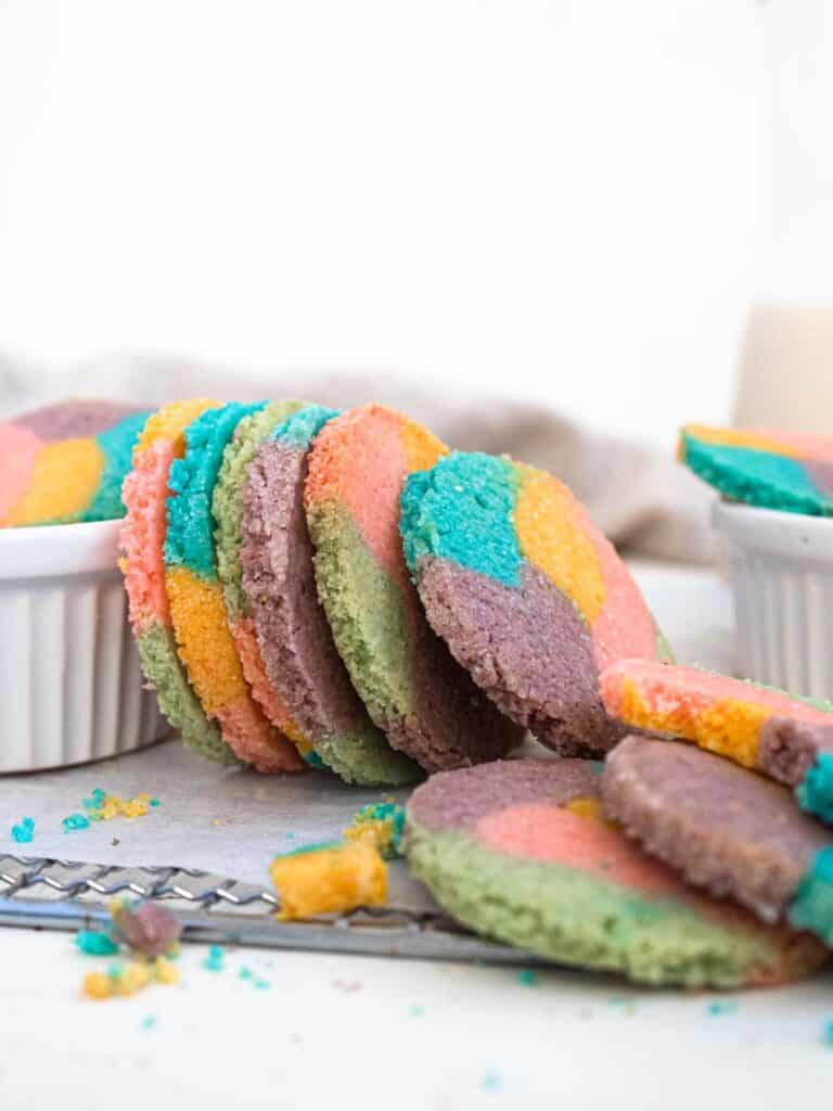 Easy, short and buttery rainbow slice and bake cookies