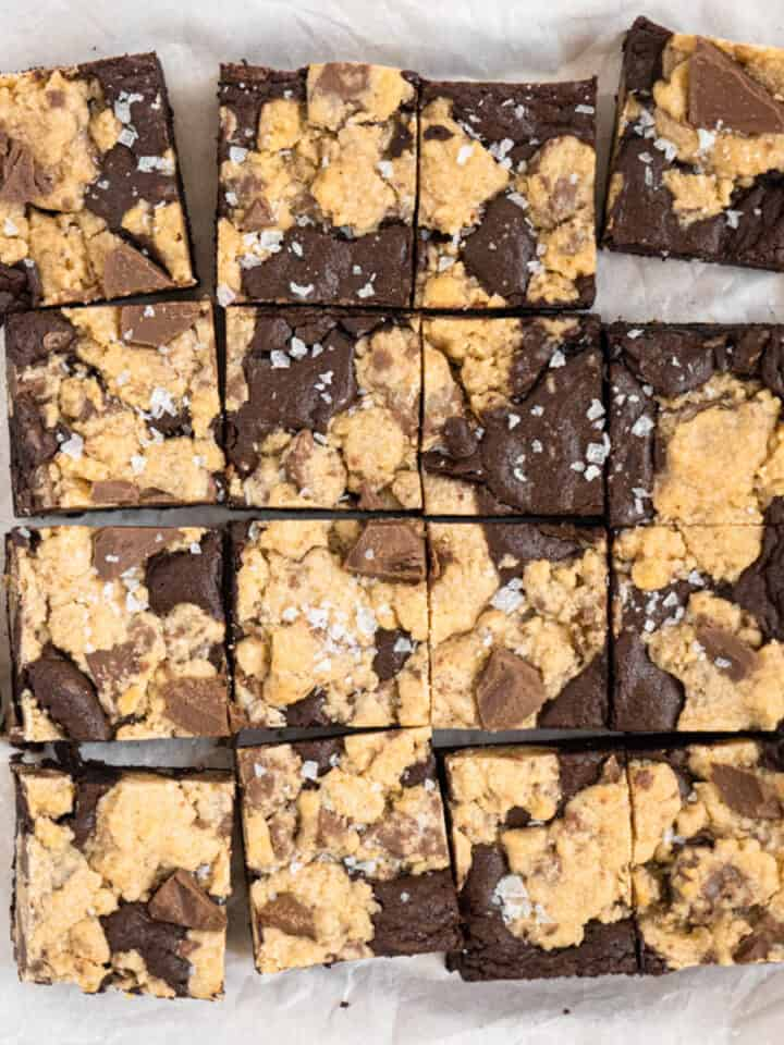 Fudge brownie and soft chocolate chip cookie baked into a bar brookie