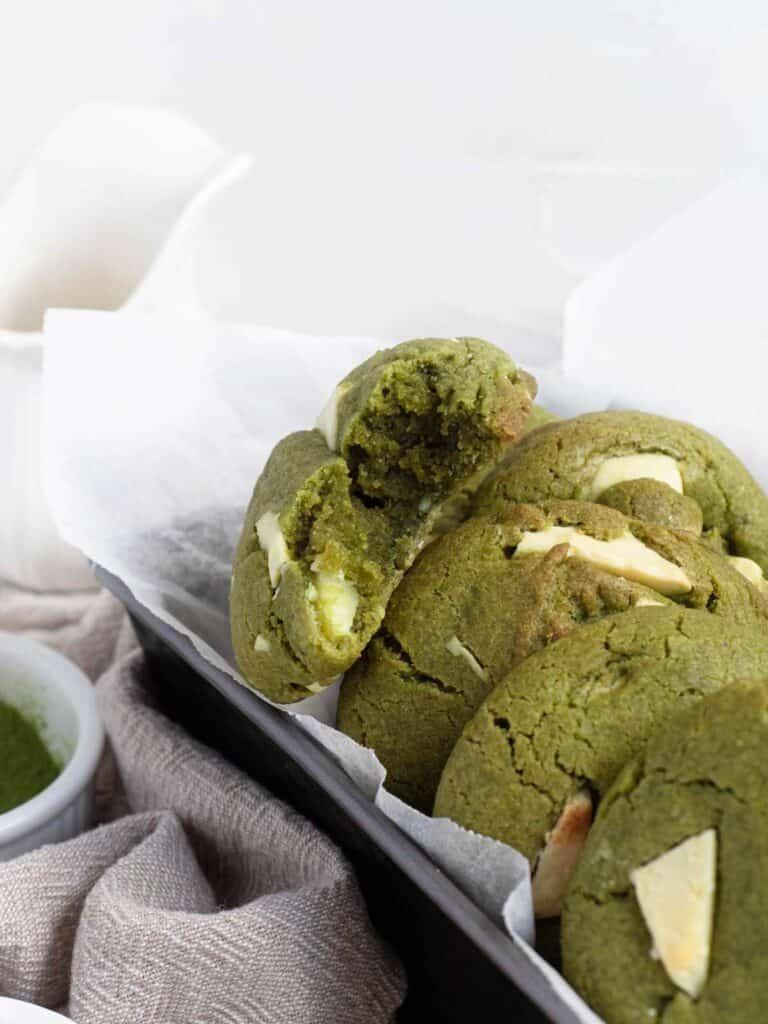 Soft, crisp and chewy matcha green tea white chocolate cookies