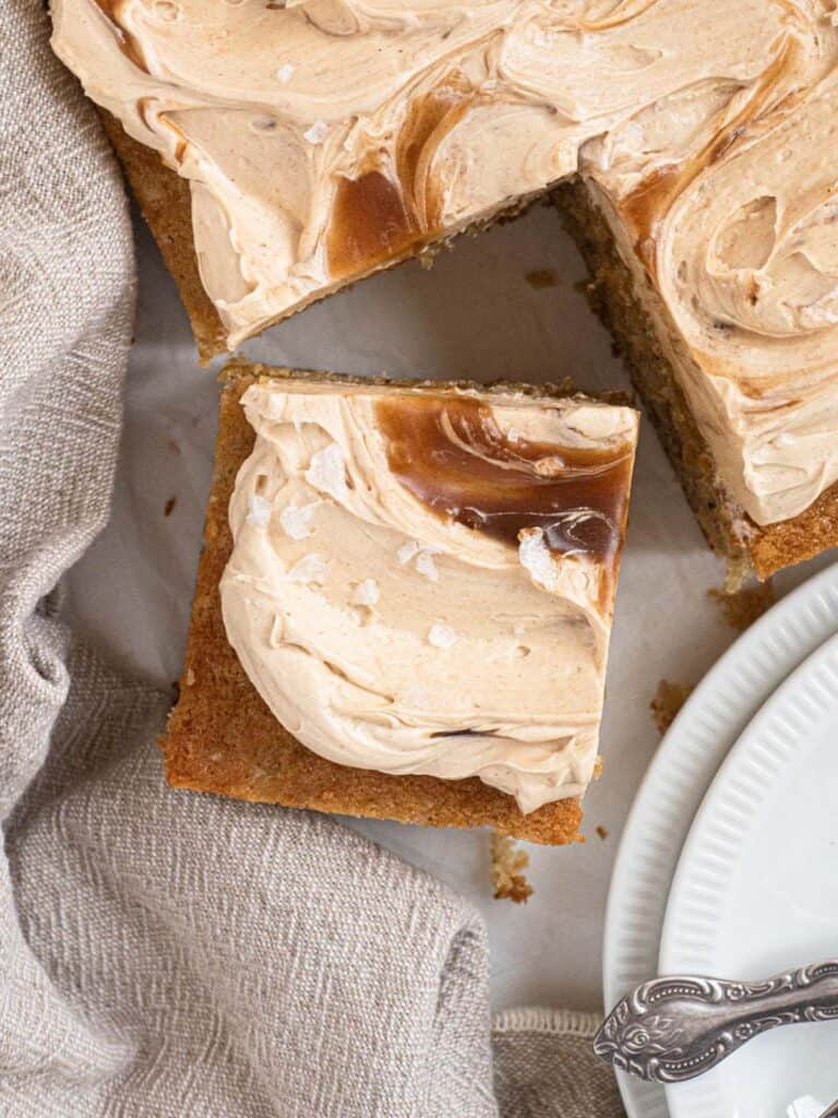 Soft, moist and fluffy banana sheet cake with caramel butterscotch buttercream
