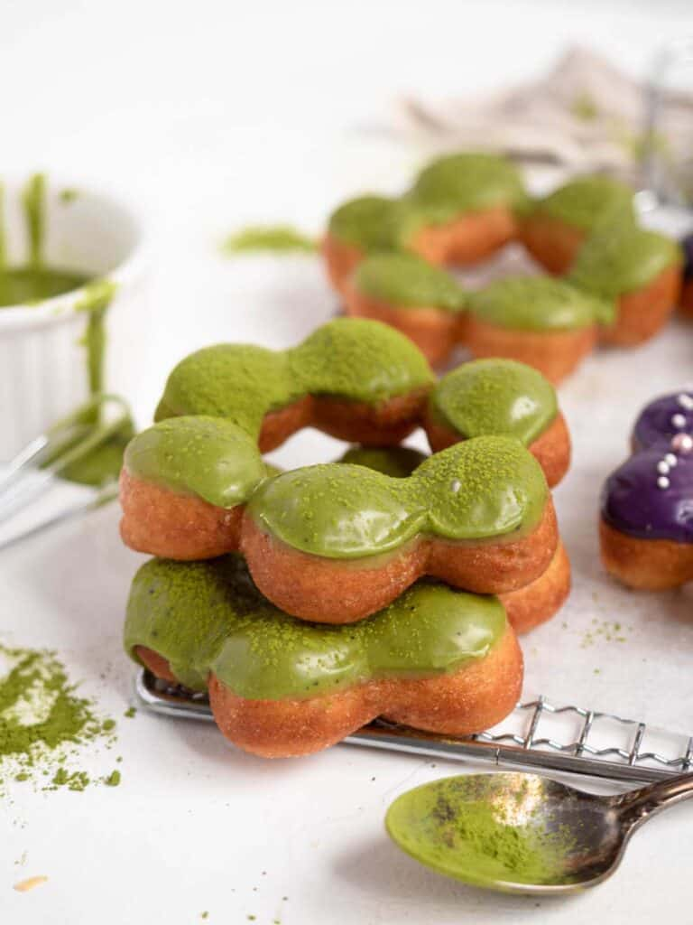 Mochi donuts pon de ring mister donut with ube and matcha glaze