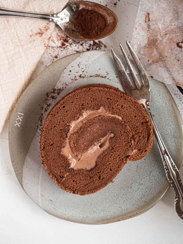 Chocolate Swiss roll cake filled with light chocolate whipped cream