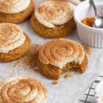 Soft pumpkin spice cheesecake frosted cookies crumbl inspired