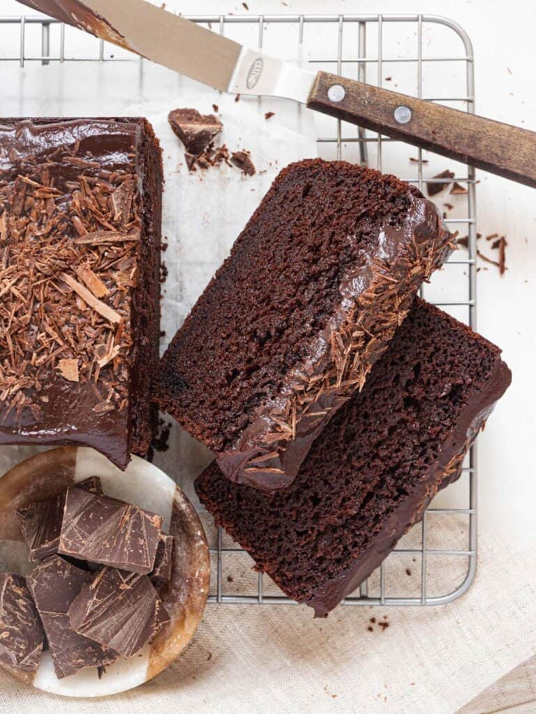 Rich Moist chocolate loaf cake with chocolate ganache frosting
