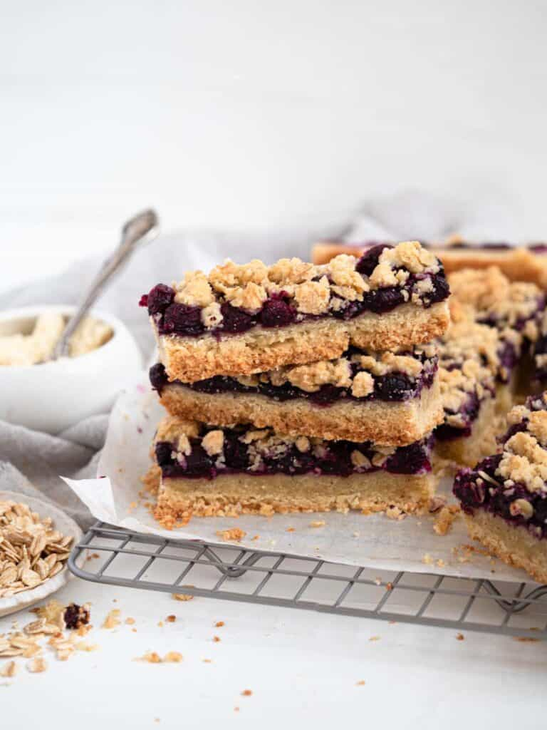 Buttery almond shortbread with blueberry jam and oat crumble