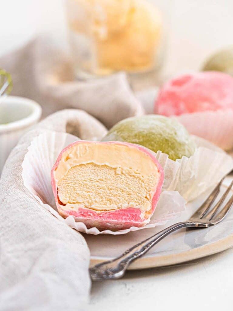 Japanese matcha and raspberry mochi ice cream