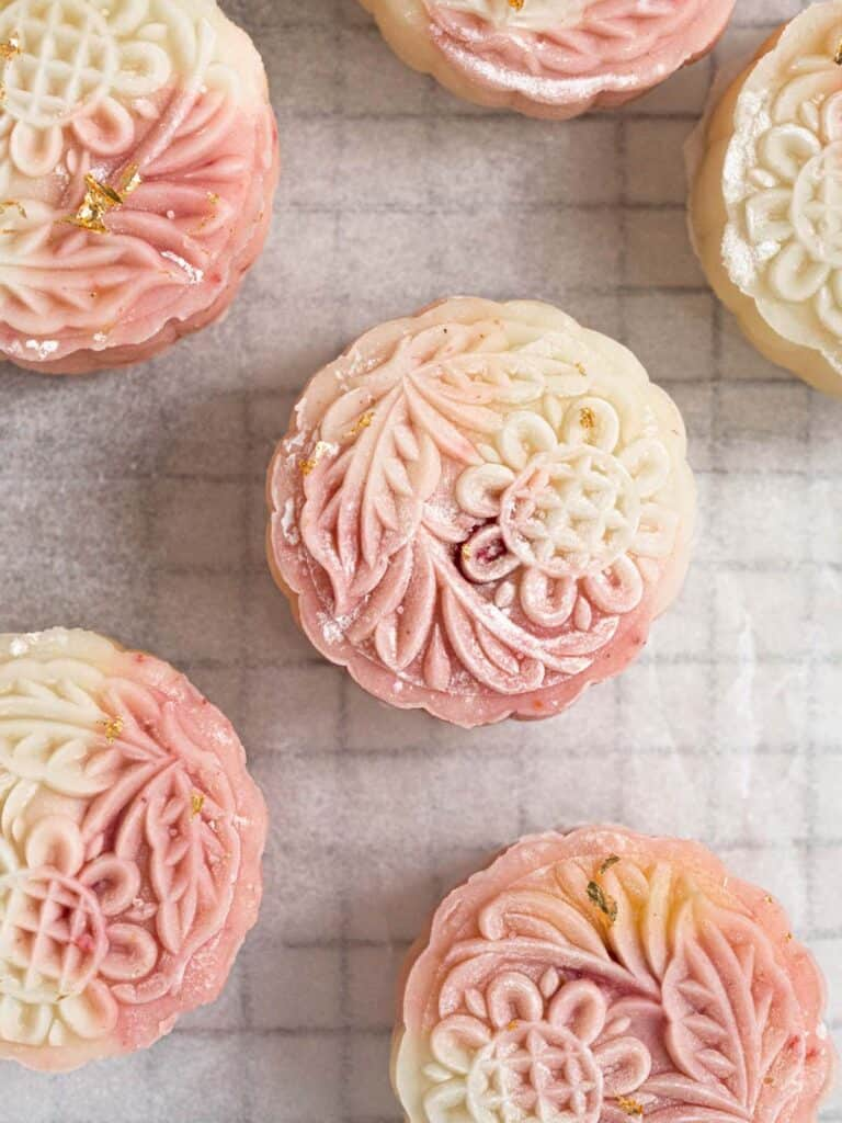 Strawberry custard filled no-bake mochi snow skin mooncakes