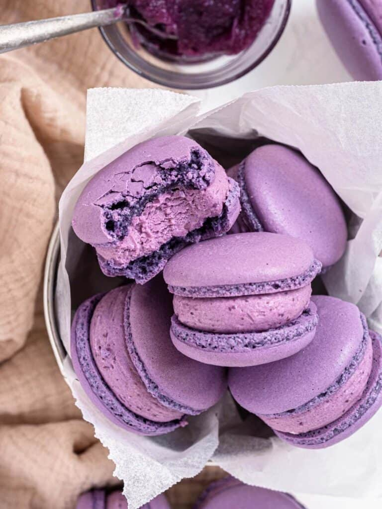Ube French macarons with light and fluffy ube buttercream