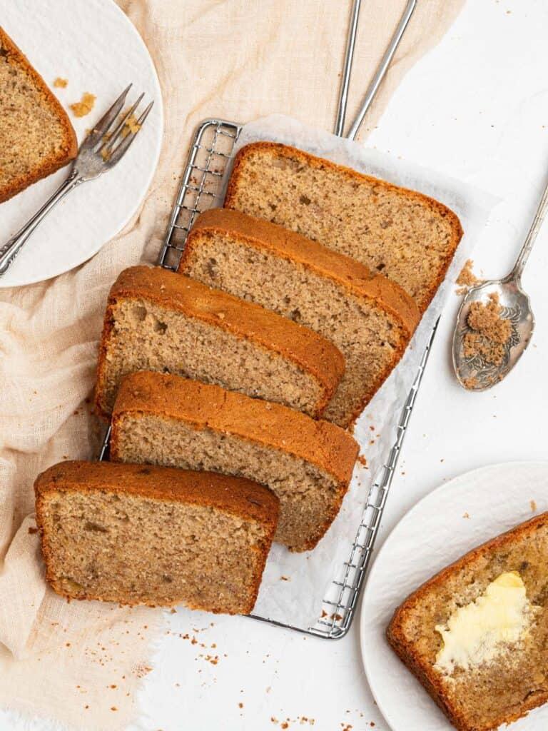 Moist tender cafe-style cinnamon banana bread